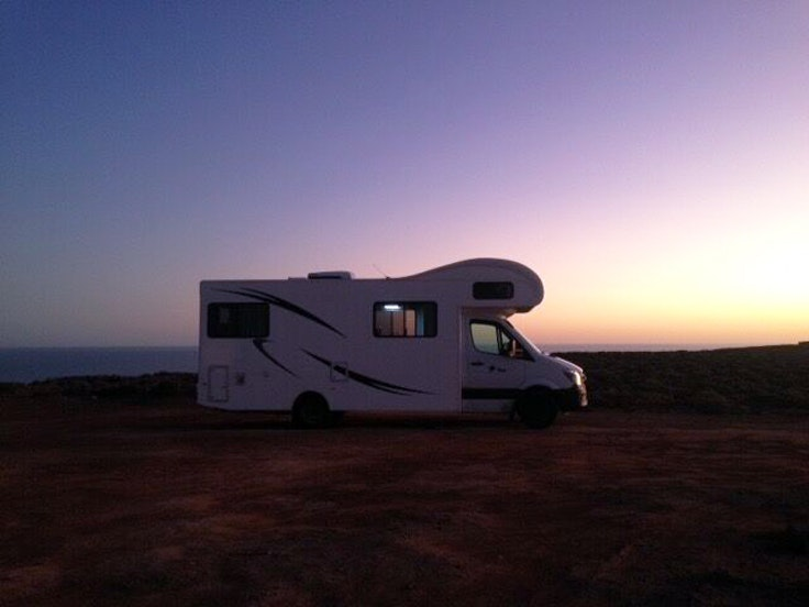 The camper van at sunset
