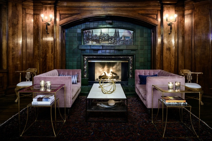 The fireside lounge at the Sorrento Hotel is the perfect spot to lounge with a book—especially during the hotel's monthly Silent Reading Party.