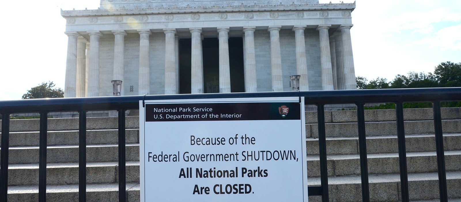 A sign at theLincoln Memorial in Washington, D.C. informs the public why the landmark is closed.