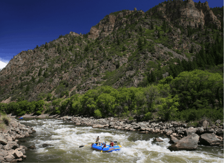 Braving the whitewater rapids in Colorado.