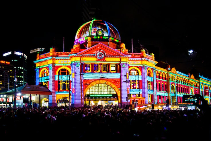 Nuit Blanche takes place across the globe and uses famous buildings like Melbourne's Flinders Street Station as a canvas.