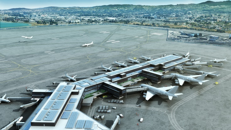 A rendering of Harvey Milk Terminal 1's Boarding Area B (BAB), which was designed byHKS, Woods Bagot, Austin-Webcor, ED2 International, and Kendall Associates