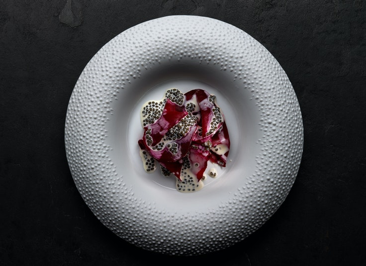 One of the most popular dishes at Mirazur is salt-crusted beetroot, shown here.