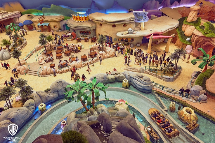 The Flintstones-themed Bedrock area will be one of six lands at Warner Bros. World Abu Dhabi, open now.