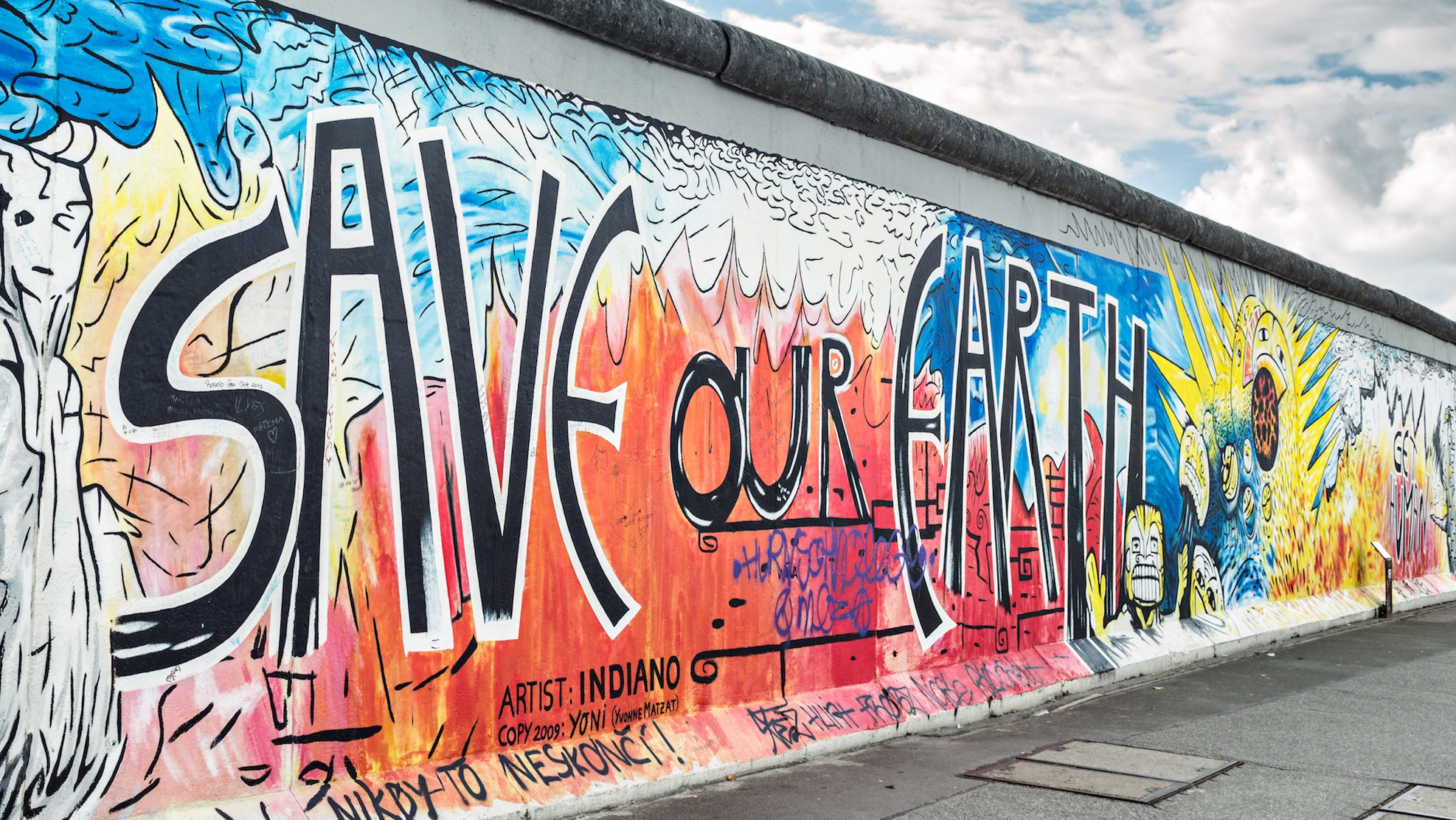 delightful Berlin Wall Art Part - 3: Murals decorate the East Side Gallery, a remaining 4,000-foot-long stretch  of