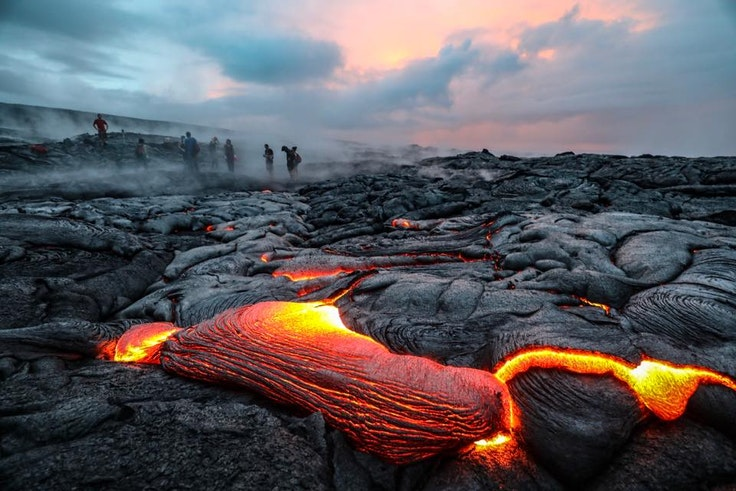 Glowing lava at Holei Pali lava field, near Hawaii Volcanoes National Park