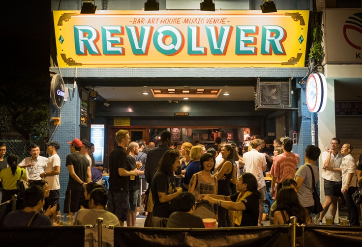 Revolver, a restaurant, bar, and music venue where Yeh's band has performed.