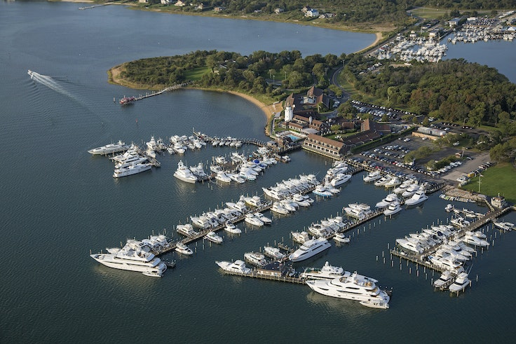 An aerial view of Gurney's Star Island on Lake Montauk