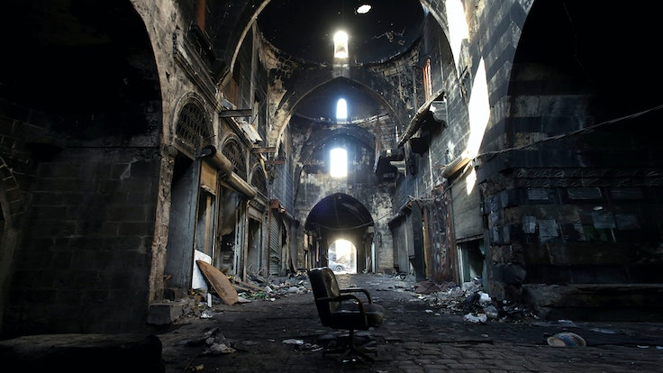 On the World Monuments Fund's annual list of endangered sites: Syria's 14th-century Souk al-Madina in Aleppo, ravaged by a fire in 2012