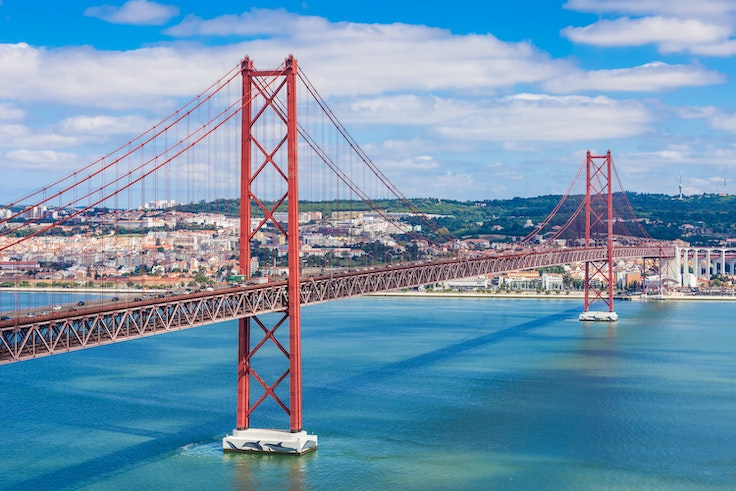 Believe it or not, this is not the Golden Gate Bridge. This is the 25 de Abril Bridge that connects Lisbon to Almada, a municipality of Portugal.