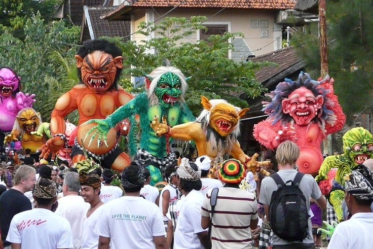Ogoh-ogoh creatures that parade through the streets the day before Nyepi in Bali