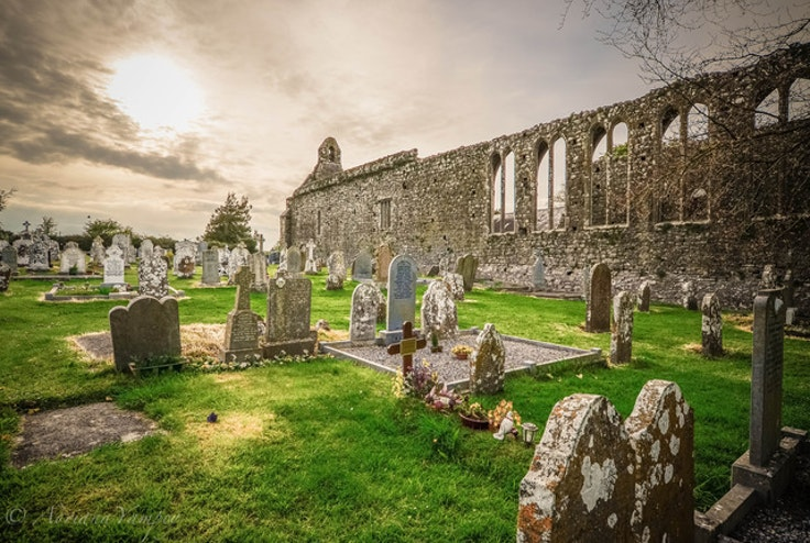 An old cemetery and ruins of an Abbey in Lorrha, Ireland.