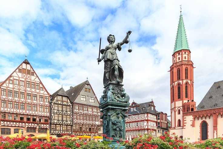 The Fountain of Justice is an important landmark in the historic center of Frankfurt, Germany.