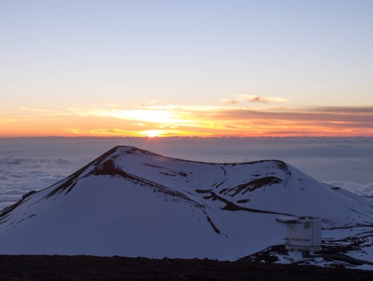A rare snow on Mauna Kea