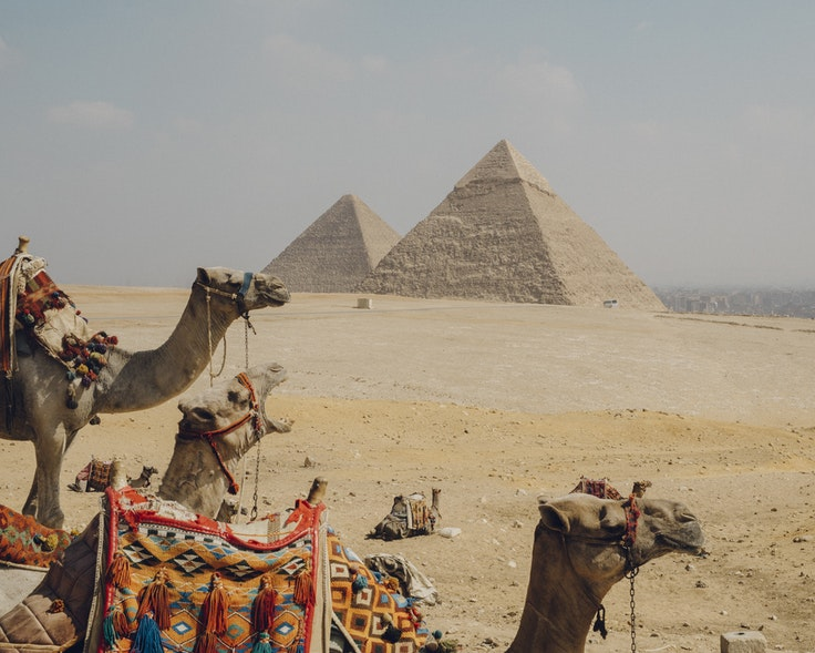 The 450-foot-tall Great Pyramid at Giza is made of an estimated 2.3 million blocks of stone cut by hand.