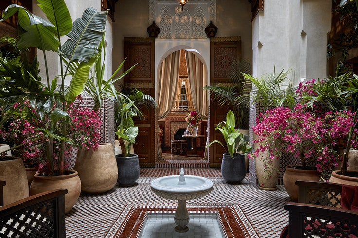 """""""Riad"""" translates to """"garden,"""" but the term also refers to the traditional grand homes built around central courtyards."""