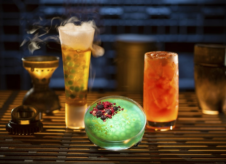 Cocktails at Oga's Cantina include fun textural surprises such as popping boba pearls and dried fruit to liven up the drink experience.