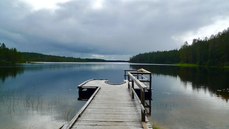 A boat dock in Hossa National Park, Finland