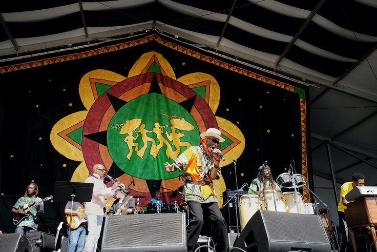 Performers on stage at the New Orleans Jazz Fest