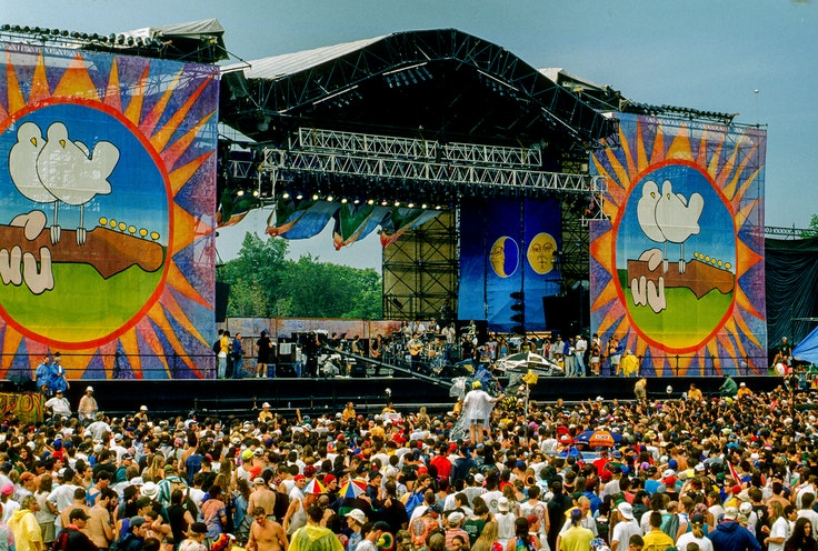 Crowds celebrated the 25th anniversary of the Woodstock music festival, which took took place in upstate New York during August 1994.