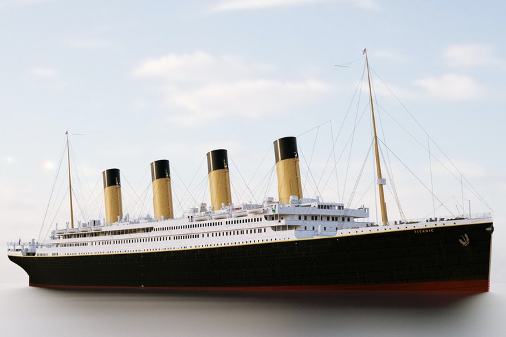 A rendering of the original Titanic, a duplicate of which is under construction.