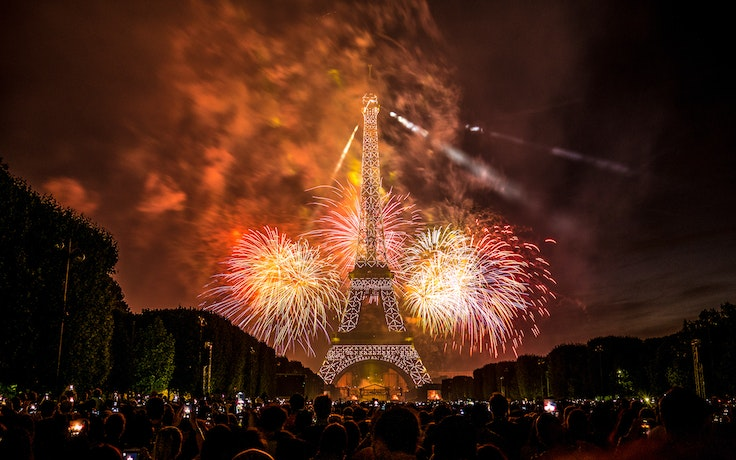 In Paris, a fireworks display above the Eiffel Tower commemorates Bastille Day each year.
