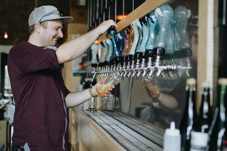 Knoxville's art and culinary scenes collide at Pretentious Glass Company, where both the brews and the glasses they're served in are crafted in-house.