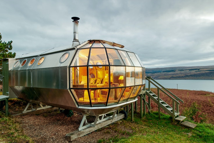 It may look like it belongs on the moon, but this airship actually is located near Scotland's Isle of Mull.