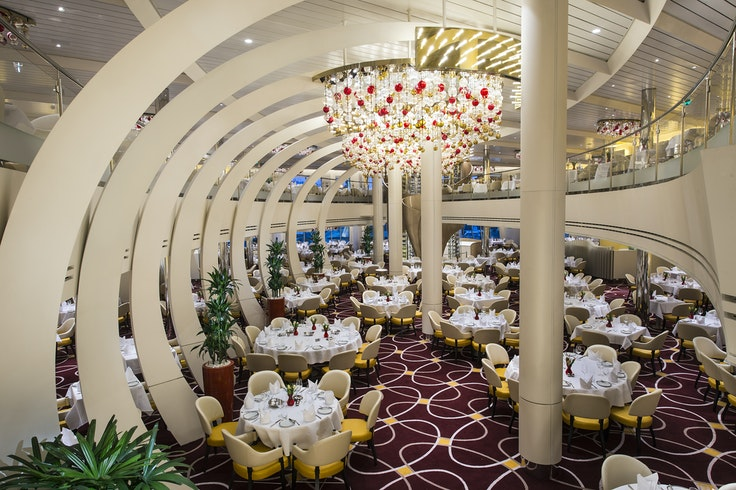 The ship's stunning new dining room.