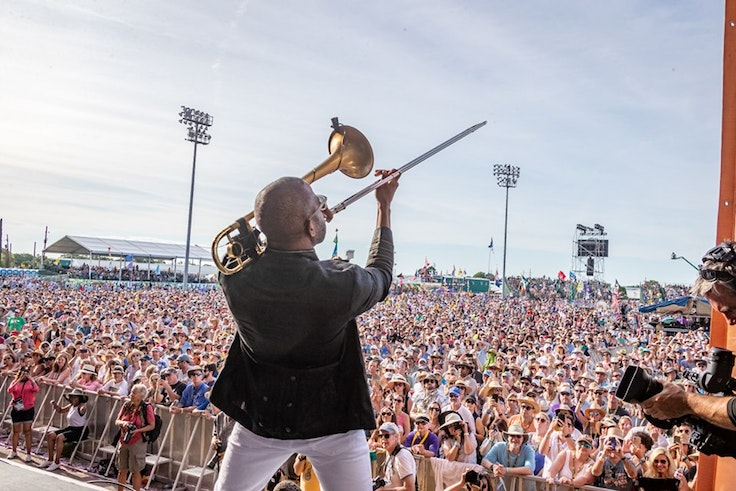 Trombone Shorty brings Jazz Fest to a close on the second Sunday each year.