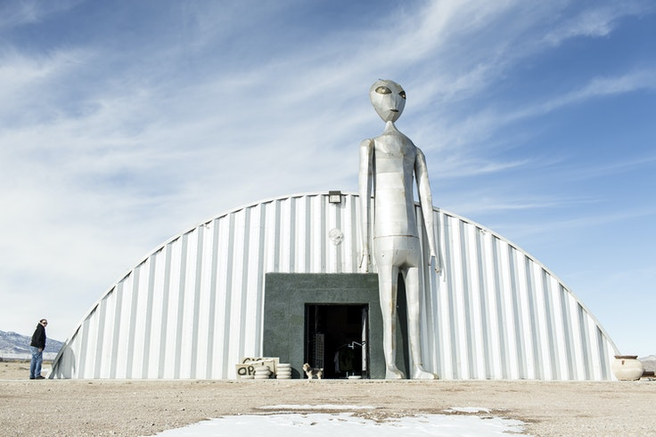 Outside the Alien Research Center on the Extraterrestrial Highway in Hiko, NV
