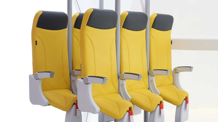 First floated in 2010, AvioInteriors's SkyRider saddle seats are back and scarierthan ever.