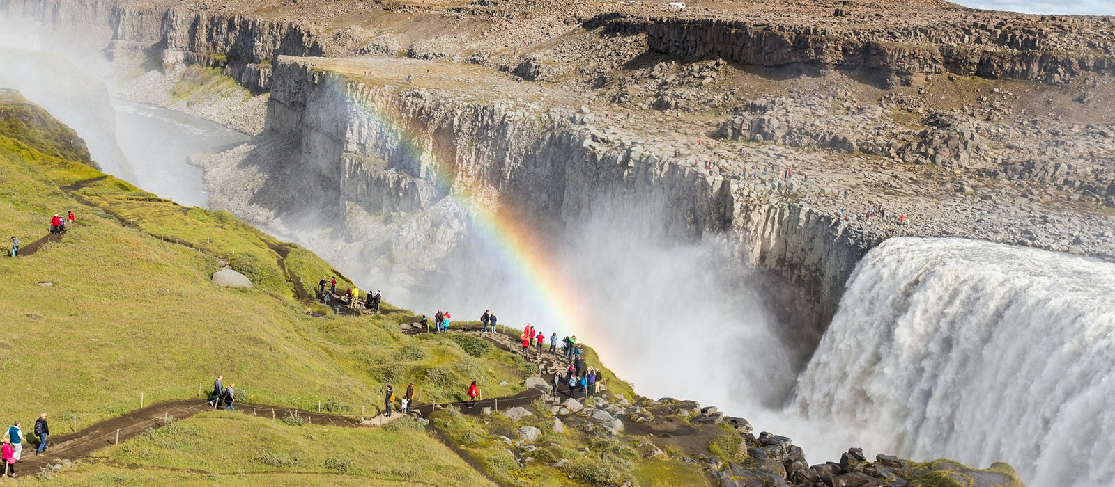 The 330-foot-wide, 150-foot-tall Dettifoss waterfall is one of the most powerful in Iceland.