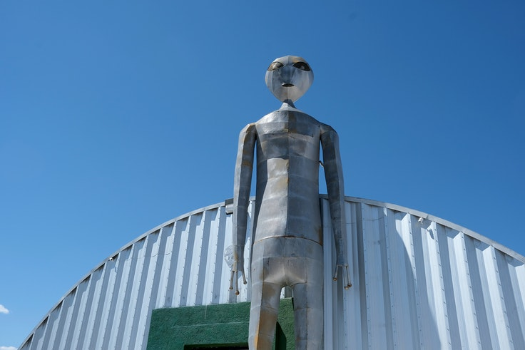 Regular citizens can't enter Area 51, but the nearby Extraterrestrial Highway offers classic road-trip Americana like the Alien Research Center gift shop.