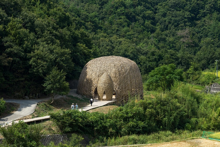 """Taiwanese artist Wang Wen-Chih's massive installation """"Love on Shodoshima"""" is handwoven from the island's bamboo plants."""