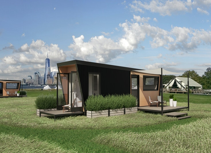 "The ""Outlook Shelters,"" shown here in a rendering, have two decks with views of the city."