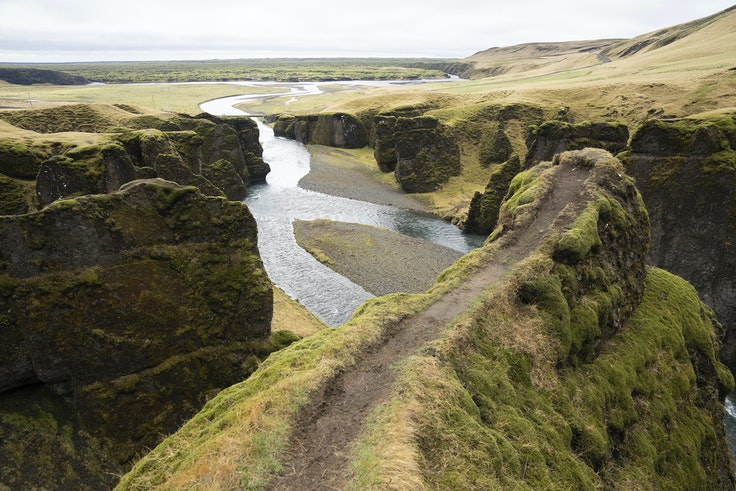 """A cliff at the Fjadrárgljúfur canyon in southeastern Iceland, which has suffered environmental damage after Justin Beiber fans arrived in droves because he filmed the music video """"I'll Show You"""" there."""