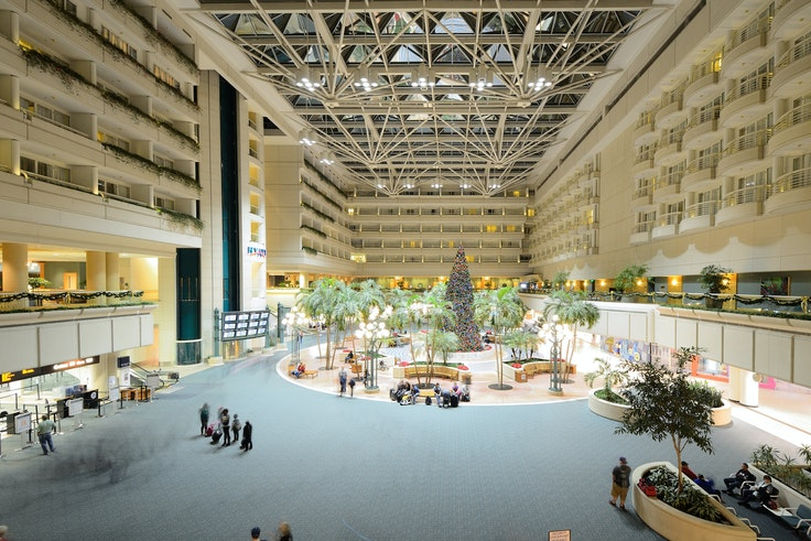 Orlando International Airport (pictured) tied with Las Vegas McCarran International Airport for the highest-ranked mega airport in North America.