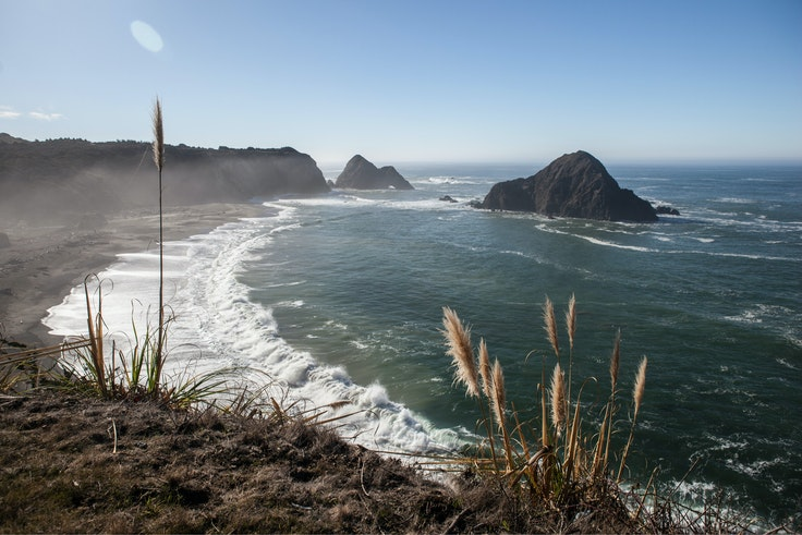 The rugged, wave-battered California coastline at the small enclave of Elk, in Mendocino County