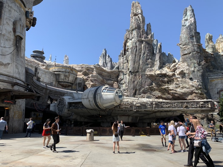 """The Millennium Falcon in """"Star Wars"""": Galaxy's Edge is the first full-scale build of the entire spacecraft."""