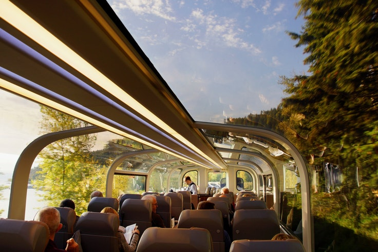 All seats on the Rocky Mountaineer are in panoramic dome cars.