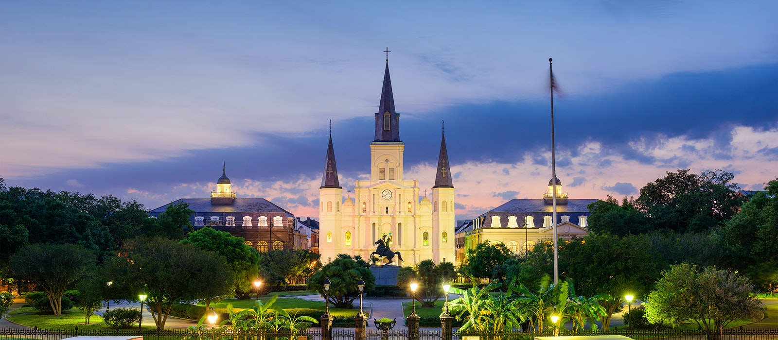 Jackson Square in the French Quarter at twilight