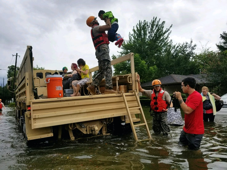 Texas National Guard soldiers arrive in Houston, Texas to aid citizens in heavily flooded areas from the storms of Hurricane Harvey.