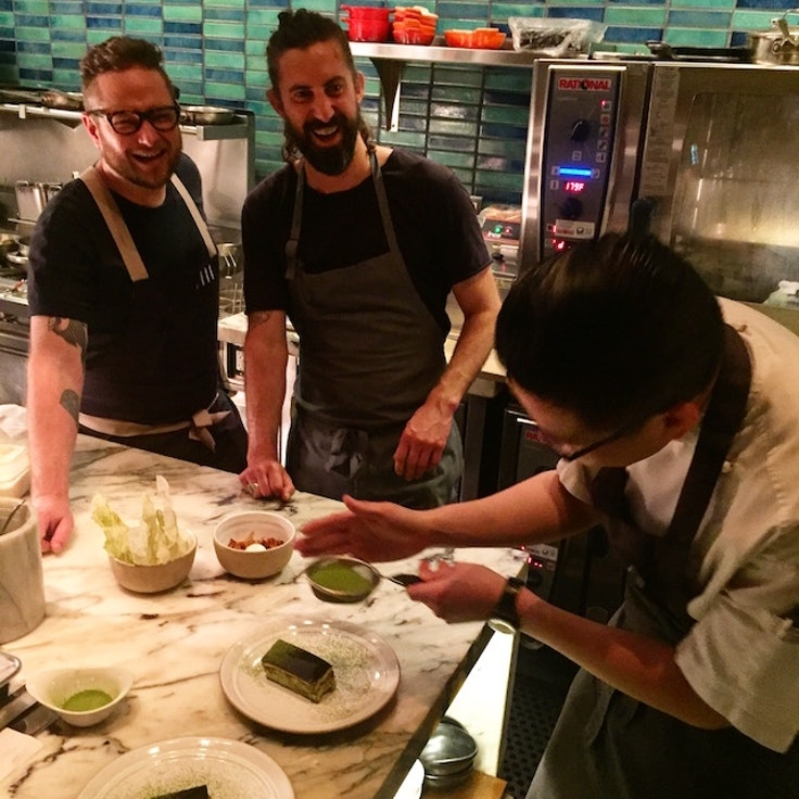 A recent Australia-themed dinner at Chefs Club in New York City. From left: Clayton Wells of Sydney, David Moyle of Hobart, and Victor Liong of Melbourne
