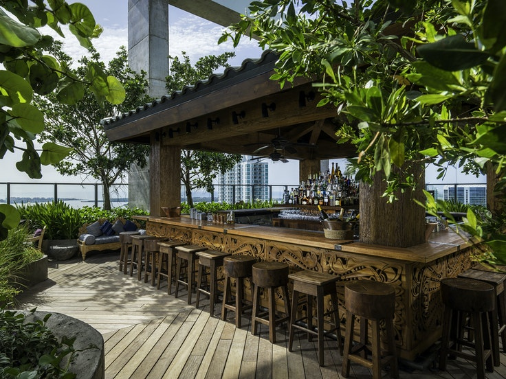 On its 40th-floor perch, Miami's Balinese-inspired Sugar at East, Miami, is the highest rooftop bar in the city.