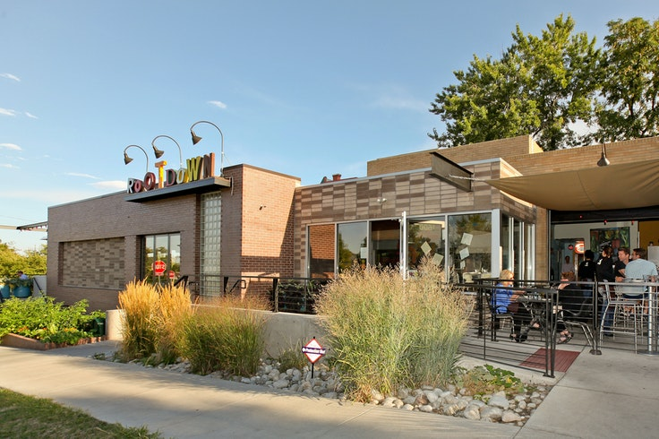 Root Down, in Denver, is one of many restaurants across the country located in former gas stations.