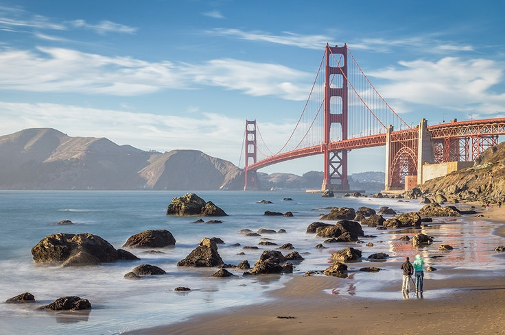 Baker Beach provides top-notch views of the Golden Gate Bridge, Marin Headlands, and Lands End.