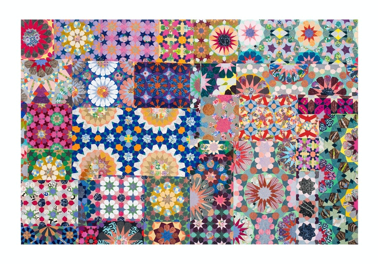 """Joyce Kozloff's """"If I Were an Astronomer: Boston"""" is one of the pieces in the Institute of Contemporary Art Boston's show celebrating maximalism in art."""