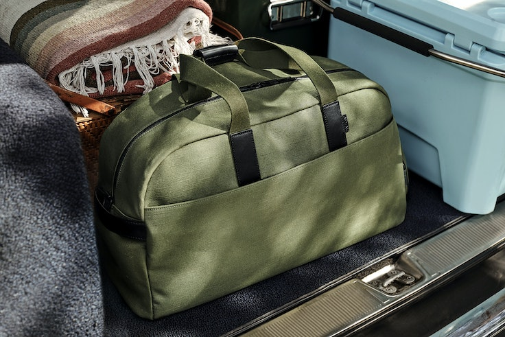 The new weekender bags come in three colors, including olive green.