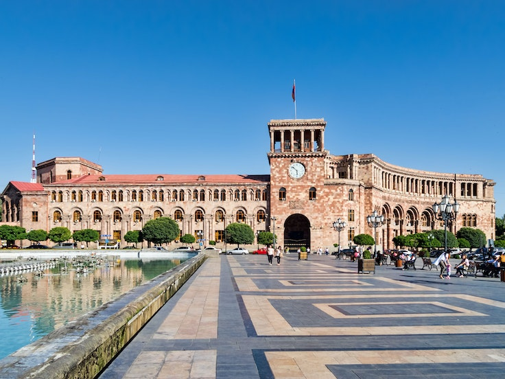 Republic Square, in Yerevan, Armenia, was designed in the 1920s by Russian-born architect Alexander Tamanyan.